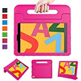 LTROP Case for New iPad 10.2 2019 - iPad 7th Generation Case, iPad 7th Gen 10.2-inch Shock Proof Light Weight Handle Stand Kids Case for Apple iPad 10.2' 2019 Latest Model and Air 3 - Hot Pink