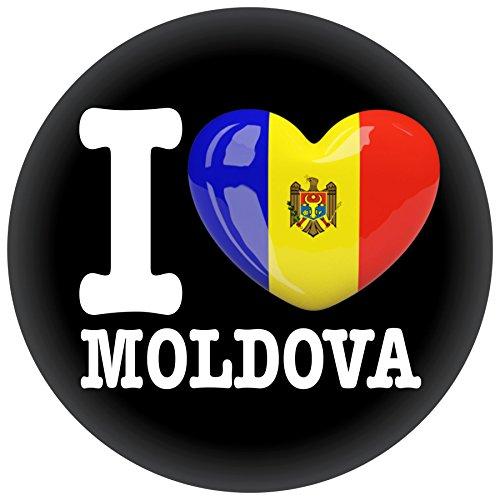 FanShirts4u Button/Badge/Pin - I Love MOLDAWIEN Fahne Flagge MOLDOVA (I Love Moldova)