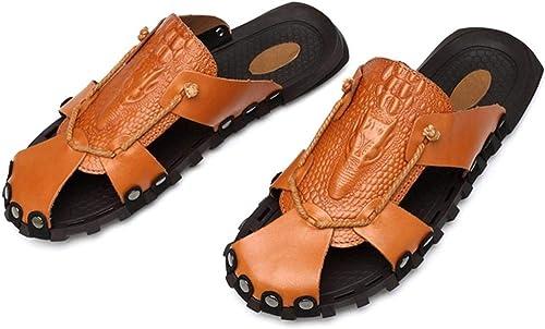 Fuxitoggo Sandales pour Hommes Beach Garden en Cuir Summer Baotou Sandales à Double Usage Rivets (Couleuré   41, Taille   Noir)