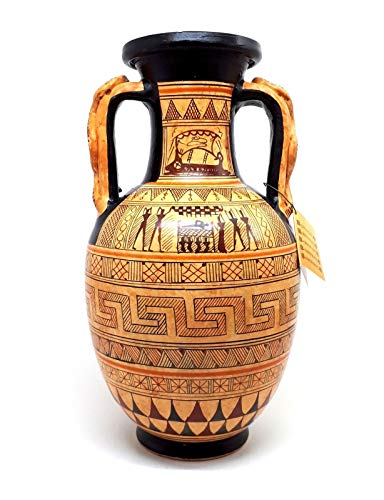 greco antico in ceramica vaso anfora serpenti manico geometrico arte ceramica Grecia