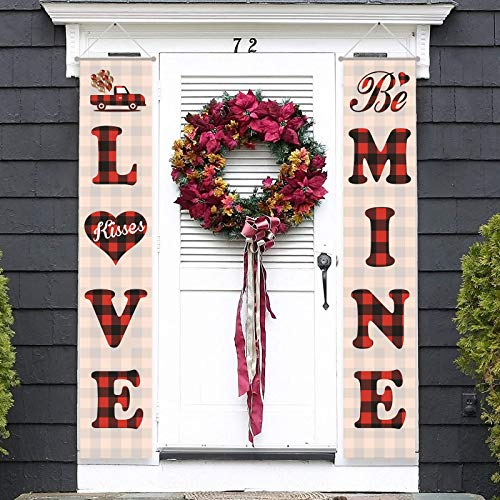 Happy Valentines Day Porch Sign, Front Door Welcome Romantic Sign, Sweet Love Backdrop Flags, Hanging Banners for Valentine Anniversary Wedding Decor