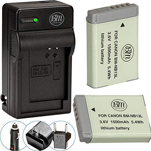 BM Premium 2-Pack of NB-13L Batteries and Charger Kit for Canon PowerShot SX740 HS, G1 X Mark III, G5 X, G5 X Mark II, G7 X, G7 X Mark II, G7 X Mark III, G9 X, G9 X Mark II, SX620 HS, SX720 HS Cameras -  BM-NB13LK4