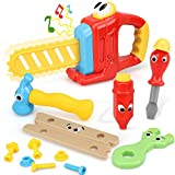 STEAM Life 14 Pcs Cartoon Kids Tool Set for Toddlers - Kids Tool Box - Kids Tool Kit Contains Cute Battery Powered Toy Saw with Sound Effect, Pencil, Toy Tools - Play Tools for Kids Boys 3 4 5 6 7