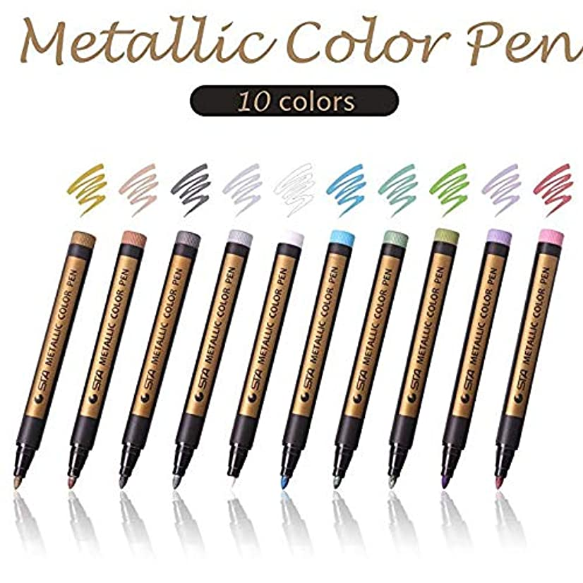 BicycleStore Marker Pens Acrylic Paint Pens Set 10 Colours Metallic Markers Pen for Rock Painting, DIY Card, Pebble Art