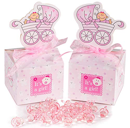 50 Stück Gastgeschenk Süßigkeiten Taufe Schachtel mit 50 Mini Dekoschnuller,Kinderwagen Muster Candy Box für Baby Mädchen Geburtstag Taufe Neugeborenen Babyparty Shower Konfirmation Kommunion pink