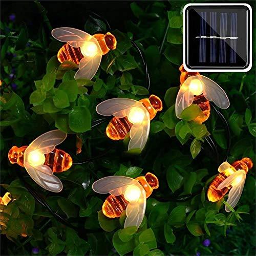Solarbetriebene Lichterketten, niedliche Honigbienen-LED-Lichter Wasserdichte feenhafte dekorative Lichter für den Außenbereich, Hochzeit, Häuser, Gärten, Patio, Party usw. (warmes Weiß),21.3ft 30led