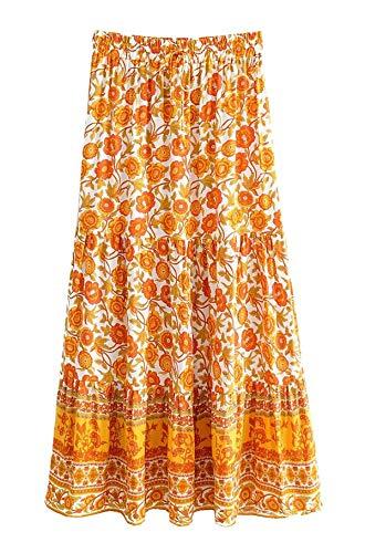R.Vivimos Womens Summer Cotton Vintage Floral Print Boho Casual Long Skirt (Medium, WhiteYellow)