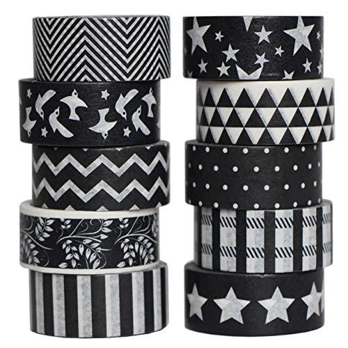 aufodara 10er Schwarz Weiß Washi Tape Schwarz Weiß Klebeband Dekoband Masking Tape, 4M/Rolle, 15MM Wide, Schwarz und Weiß Schönen Mustern (Mustern-A)