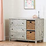South Shore Cotton Candy 3-Drawer Dresser with Baskets-Seaside Pine