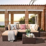 Patiorama 5 Piece Outdoor Furniture, Patio Sectional Furniture Sofa Set All-Weather Brown PE Wicker Furniture with Beige Seat Cushions &Glass Coffee Table| Patio, Backyard, Pool