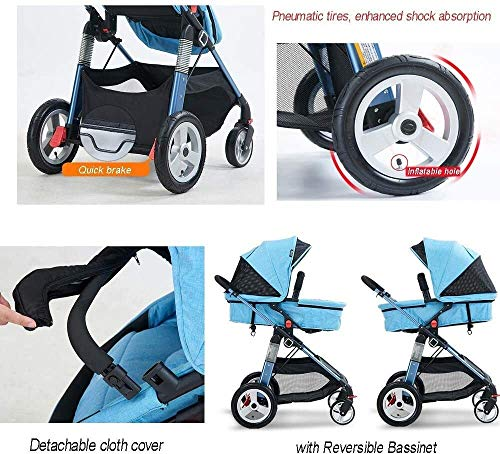 LAMTON Baby Pushchair, Buggy, Pushchairs Baby Stroller with Reversible Bassinet Compact Pushchair Suitable for Children 0-3 Years Old,80x100cm (Color : Blue) LAMTON The adjustable 5-point safety harness has comfortable shoulder pads, The sturdy frame has a wider seat which results in a more comfortable ride for your child The stroller can be easily folded, smaller and more portable; the adjustable backrest angle can be seated or lying down, as well as a large shopping basket and caster ★Carbon steel frame, sturdy, lightweight, durable, easy to store and travel 3