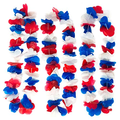 50 piece Patriotic Plastic Flower Leis - 4th of July/Memorial Day Party Favor Decoration