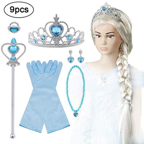 Vicloon Princesa Vestir Accesorios, 9 Pcs Azul Elsa Princesa Accesorios de disfraces, Regalo Conjunto de Belleza - Peluca Corona Anillo Sceptre Collar Pendientes Guantes para Niña