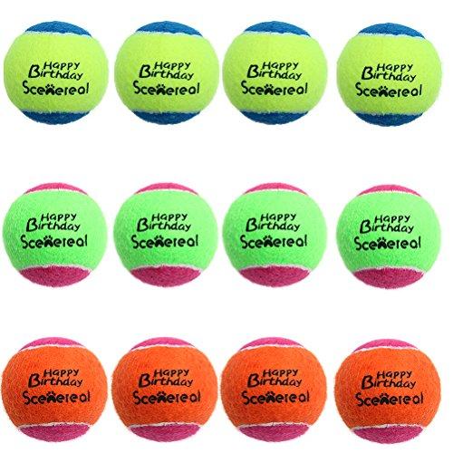 Scenereal quietschende Tennisbälle für Hunde, 12 Stück, kleines Hundespielzeug, tägliches Training und Spielen, 5 cm
