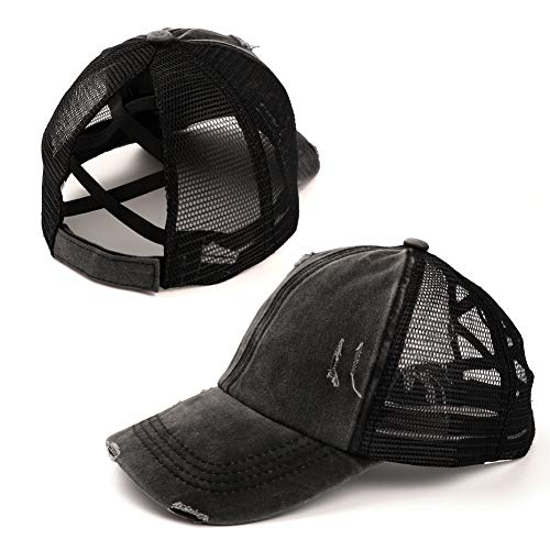 Womens Distressed Criss Cross Messy High Bun Ponytail Baseball Cap Vintage Unconstructed Ponycap Dad Hat