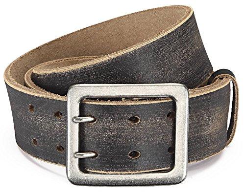 Eg-Fashion Ledergürtel Herren Büffelleder Braun mit stylischer Doppeldorn-Schließe I 4,5cm breiter Gürtel I Gürtel Herren verschiedene Längen (Bundweite: 115cm/Gesamtlänge: 130cm)