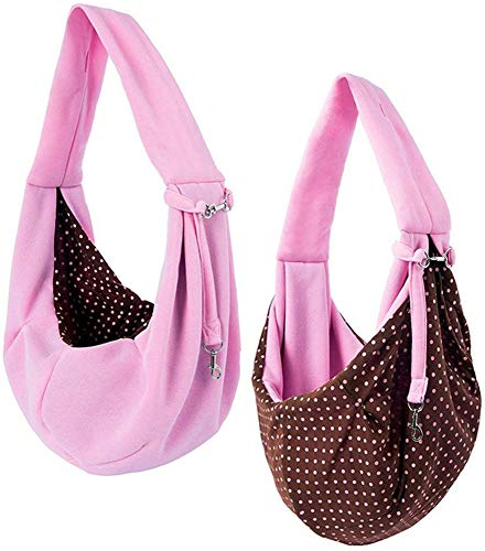 Grtdrm Pet Sling Carrier Bag Travel Tote for Cats Dogs, Up to 16 lbs (Pink) 1