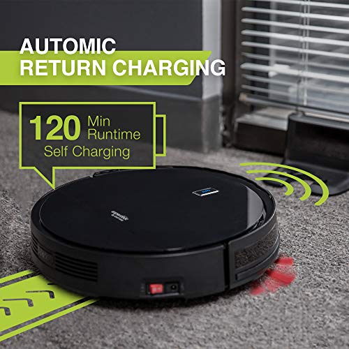 Enther Experobot C200 Robot Vacuum Cleaner with Gyro Lidar Navigation Infrared Sensor, 2-Hour Runtime, Self-Charging for Pet Hair, Hard Floor and Carpet, Black