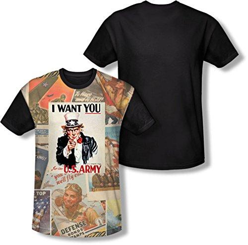 Army - - Collage Vintage T-shirt pour hommes, Medium, White
