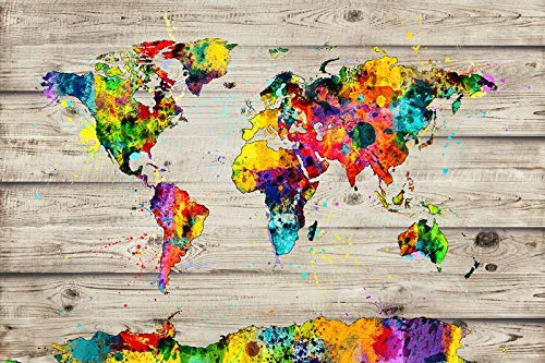 Mapa del mundo Mapa exquisito y elegante Mapa del mundo Textura de madera Mapa del mundo impermeable y duradero Mapa del mundo Hermosa decoración-80x120cm_MH1962