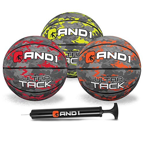 AND1 Mini Basketball 3 Pack Set for Kids (Deflated w/Pump Included): - Size 3 5-Inch Premium Youth Size Basketballs, Easy to Grip, Made for Indoors and Outdoors