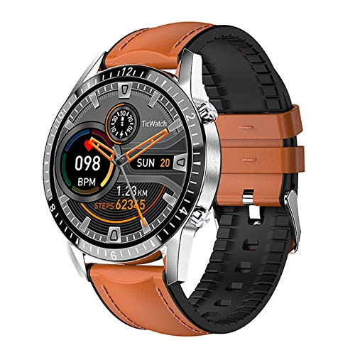 GZA para BlackView BV9800 BV9700PRO BV9100 BV6100 BV5800 BV6800 Pro Smart Watch Bluetooth Call Phone SmartWatch Tarifa Cardíaca Hombres Deportes (Color : Brown Leather)