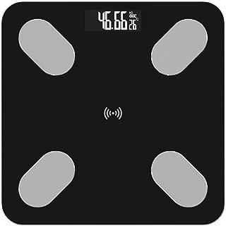 KANJJ-YU Báscula de pesaje de baño, LCD Digital Balanza de grasa corporal inteligente Bluetooth Equilibrio del hogar, 180kg, Negro Hogar
