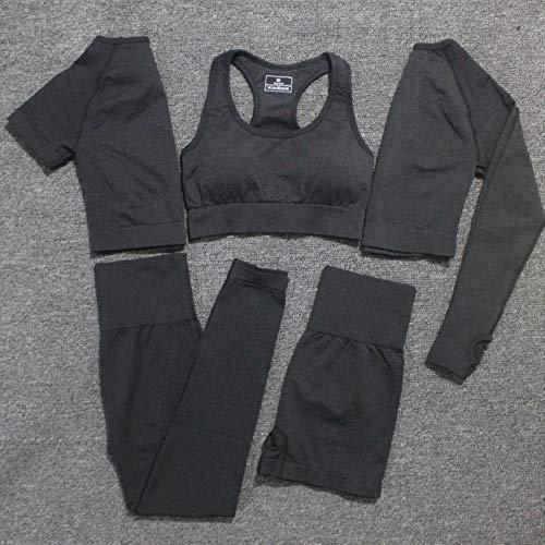 GFDHGT 5 Stück/Set Frauen Vital Seamless Yoga Set Fitness Kurzarm Langes Crop Top Shirts Laufen Leggings Shorts Kleidung Gym Set, 5 Stück Schwarz Set, M.