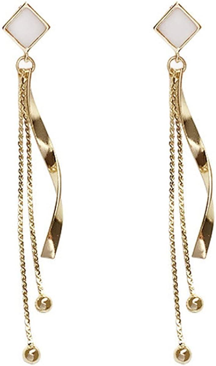 NIDEZHI Golden Simple Sweet Earrings Long Chain Drop Dangle Clip on Earrings Temperament Tassel Ear Jewelry