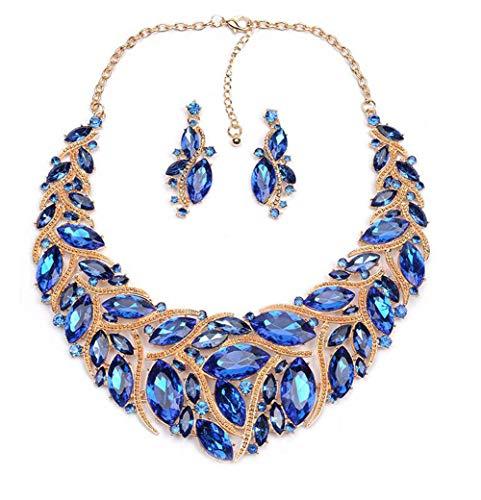 GAOHONGMEI Collier en cristal de mariée pour femme et ensemble de bijoux, cadeau assorti à une robe de mariée-blue
