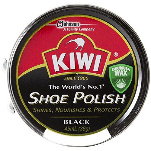 [靴磨き] 単色販売 KIWI (kiwi) キィウイ 靴墨 シューポリッシュ 油性靴クリーム[45ml][黒・茶・無色] キューイ 靴クリーム (ブラック)