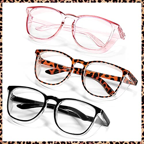Anti Fog Safety Glasses Goggles for Women Nurses Man Eye Protection (3 Pack Black+Pink+Leopard)