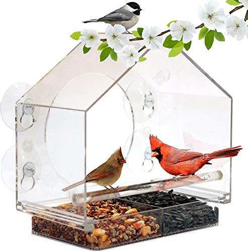 BAFU Vogelhäuschen, Fenster Vogel-Haus, Feeder mit Sliding Saatkristallhalter und 4 Extra Strong Saugnäpfe.Große Außenbirdfeeders for Wildvögel.Voliere Form.