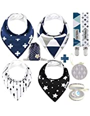 Dodo Babies Baby Bandana Drool Bib Set - 4pc Infant Bibs with 2 Pacifier Clips, Binky Case, Gift-Ready Bag - Soft Absorbent Cotton with Polyester Back - Adjustable Buttons to Fit 3-24 -Month Old Boys