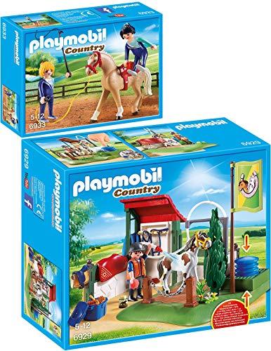 PLAYMOBIL® Country 2er Set 6929 6933 Pferdewaschplatz + Voltigier-Training