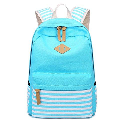 Abshoo Causal Canvas Stripe Backpack Cute Lightweight Teen Backpacks For Girls School Bookbag (Sky Blue)