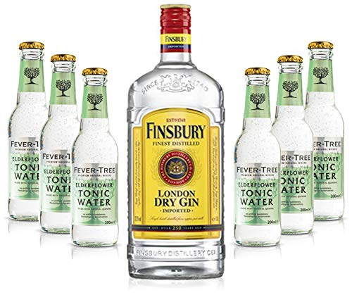 Gin Tonic Set - Finsbury London Dry Gin 0,7l 700ml (37,5{911bb457604878eeca79a7214f5422d590718b6573d4cf283ed803235eca49d6} Vol) + 6x Fever Tree Elderflower Tonic Water 200ml - Inkl. Pfand MEHRWEG