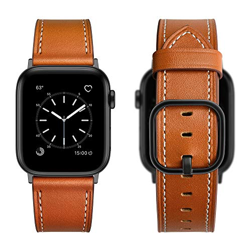 Aottom Reloj Compatible con Correa Apple Watch SE 44mm Cuero Smartwatch Apple Watch 6 Pulseras Repuesto Piel Reloj Apple Watch 42mm Correa Hombres Correas Apple Watch SE para Series 6/5/4/3/2/1,Marrón
