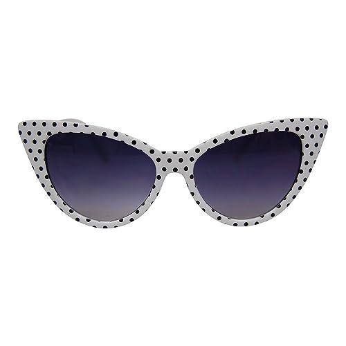 3c801a95dfd Retro Vintage Style Polka Dot Cat Eye Sunglasses 50s 60s Party