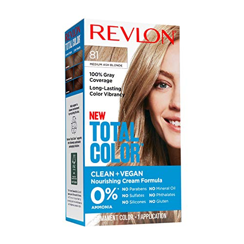 Revlon Total Color Permanent Hair Color, Clean and Vegan, 100% Gray Coverage Hair Dye, 81 Medium Ash Blonde, 3.5 oz
