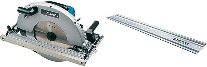 Makita 5143R - Sierra Circular (2200W, 2700 Rpm, Diámetro de sierra 355 mm/30 mm, Negro/Azul) + Makita 194368-5 - Guía de carril 1.4m