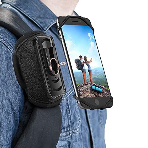 HEZEN Outdoor Handy-halter mit abnehmbare Halterung Handytasche Rucksack,Rucksack Handyhalter,Smartphone tasche Schutzhülle für alle Apple, Samsung,Schwarz