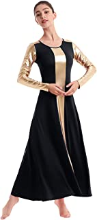 Womens Liturgical Praise Lyrical Church Dance Dress Christian Worship Metallic Bi Color Block Dancewear