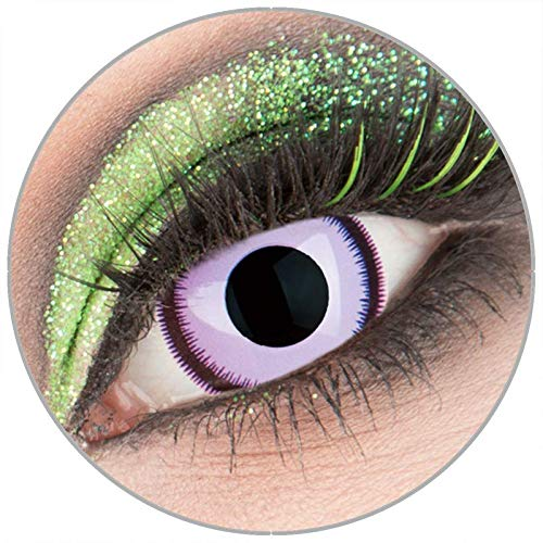 Farbige violette 'Purple Lunatic' Mini Sclera Kontaktlinsen ohne Stärke 1 Paar Crazy Fun 17 mm mit Behälter zu Fasching Karneval Halloween - Topqualität von 'Giftauge'