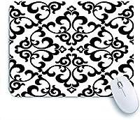 ECOMAOMI 可愛いマウスパッド 灰色の花の花柄バロックダマスク黒と白のグラフィックモダン 滑り止めゴムバッキングマウスパッドノートブックコンピュータマウスマット