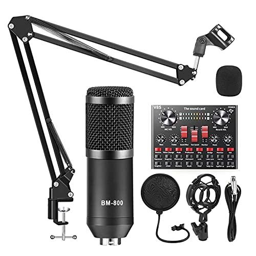 Michellda Condensatormicrofoon, USB-streaming microfoon met dubbellaags akoestisch filter en geluidsadapter…