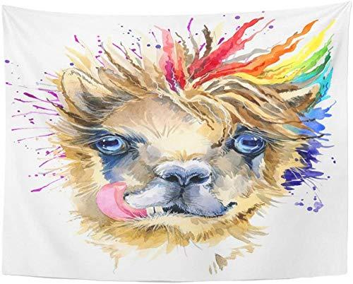 Diseño de Camiseta de Llama de Acuarela peruana, Tapiz de Alpaca América, Colgante de Pared para Sala de Estar, Dormitorio, Dormitorio 150x180CM