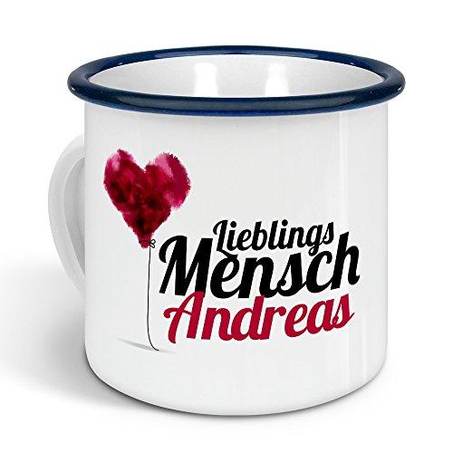 printplanet - Emaille-Tasse mit Namen Andreas - Metallbecher mit Design Lieblingsmensch - Nostalgie-Becher, Camping-Tasse, Blechtasse, Farbe Blau, 300ml