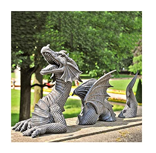Garden Statues - Dragon, Figurines Outdoors, Lawn Ornaments and Statues Sculpture Decoration, Creative Ornaments Yard Art Decor, Resin Sculpture Lawn Decorations for Garden Patio Yard