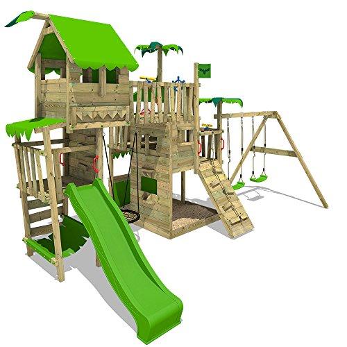 FATMOOSE Dschungel-Spielturm PacificPearl Pro XXL Kletterturm Spielplatz mit Baumhaus auf Podest, verschiedenen Ebenen, Nestschaukel und XXL Sandkasten